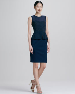 Elie Tahari Aviva Cutwork Peplum Dress