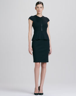 Elie Tahari Lanetta Front-Zip Peplum Dress
