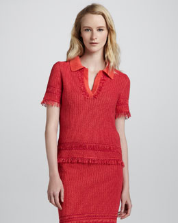 Tory Burch Brielle Knit Polo Sweater