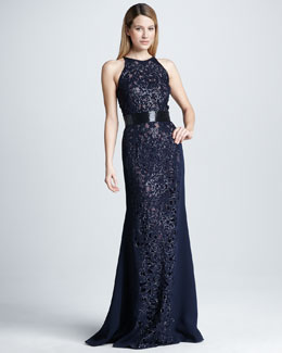Naeem Khan Sequined Cutout Embroidered Gown