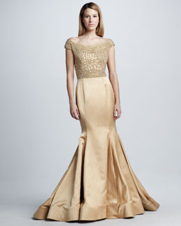 Naeem Khan Beaded Cap-Sleeve Mermaid Gown
