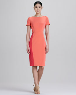 Elie Tahari Layla Short-Sleeve Colorblock Dress
