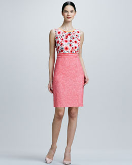 Elie Tahari Marina Print/Solid Combo Dress