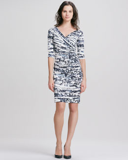 Diane von Furstenberg Bentley Tie-Dye Ruched Dress