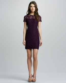 Diane von Furstenberg Lace Dress with Semisheer-Yoke