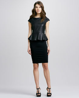 Alice + Olivia Victoria Leather-Top Peplum Dress