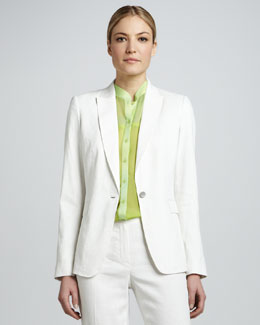 Elie Tahari Darcy One-Button Seersucker Suit Jacket