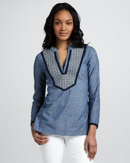 Tory Burch Embellished Chambray Tunic