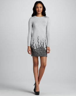 Haute Hippie Long-Sleeve Sequin-Embellished Mini Dress