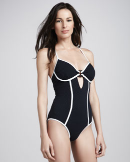 Nanette Lepore Euphoria Contrast-Trim One-Piece Swimsuit