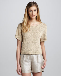 Milly Mackenzie Shimmery Knit Top