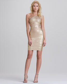 Herve Leger One-Shoulder Metallic Bandage Dress