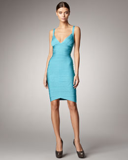 Herve Leger V-Neck Bandage Dress, Peacock