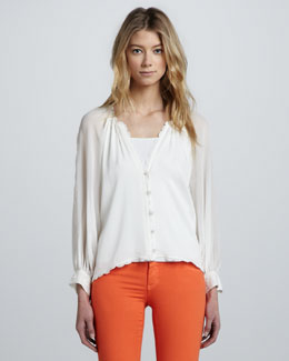 Alice + Olivia Sasha Scallop-Trim Blouse