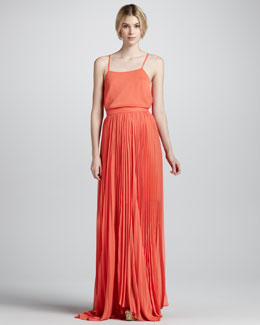 Alice + Olivia Shannon Pleated Chiffon Maxi Skirt