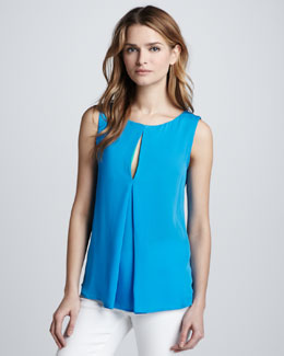 Halston Heritage Sleeveless Top with Colorblock Front Slit