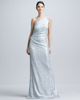 Carmen Marc Valvo One-Shoulder Sequined Ruched Gown