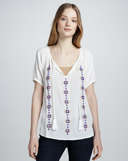 Joie Ruel Embroidered Gauze Shirt