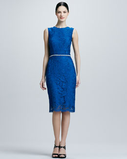 Kalinka Lace Embellished-Waist Cocktail Dress
