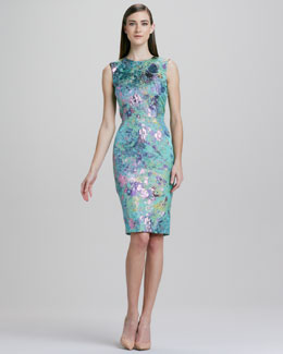 Kalinka Sleeveless Slim Brocade Floral Dress
