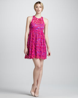 Nanette Lepore Secret Escapes Lace-Overlay Dress, Magenta