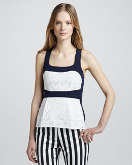 Nanette Lepore Boat Ride Colorblock Lace Halter Top