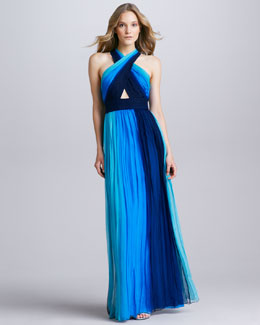 Alice + Olivia Jaelyn Ombre Cross-Neck Maxi Dress