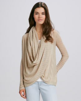 Alice + Olivia Draped Linen Sweater