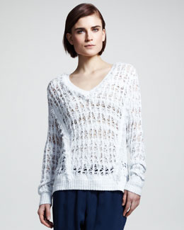 Rag & Bone Vicky Open-Knit V-Neck Sweater