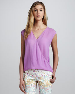 Tibi Sleeveless V-Neck Wrapped Top
