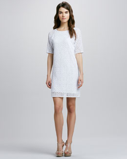 Tibi Short-Sleeve Lace Shift Dress