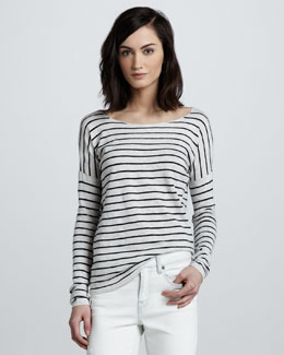 Vince Striped Boat-Neck Top