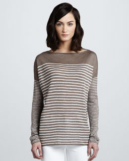 Vince Breton Striped Boat-Neck Top, Earth