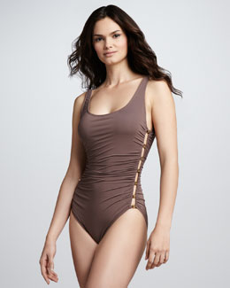 Carmen Marc Valvo Ruched Side-Stud One-Piece