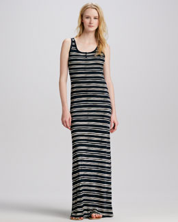 Tory Burch Jessica Striped Silk Maxi Dress