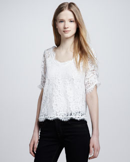 Joie Nevina Scalloped Lace Top