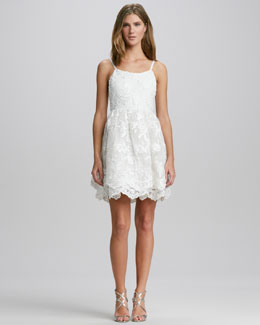 Alice + Olivia Rora Lace-Overlay Dress