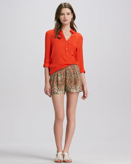 Haute Hippie Pleated-Front Abstract-Print Silk Shorts