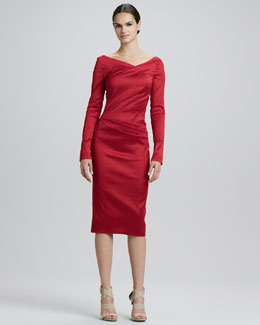 Talbot Runhof Long-Sleeve Ruched Cocktail Dress