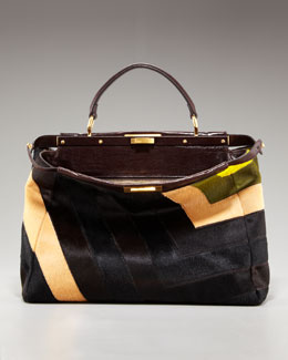 Fendi Patchwork Calf Hair Peekaboo Tote