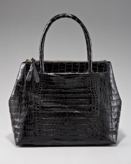 Nancy Gonzalez Executive Zip-Top Crocodile Tote