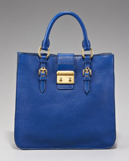 Miu Miu Leather Shopper, Cobalt Blue