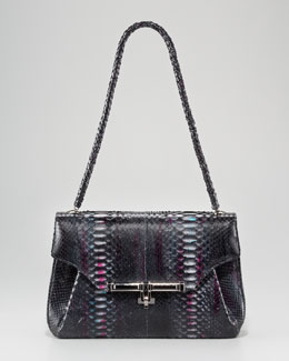 Kara Ross Urbana Python Shoulder Bag, Berry