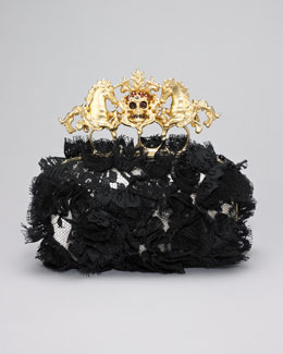 Alexander McQueen Lace Unicorn & Skull-Clasp Clutch Bag