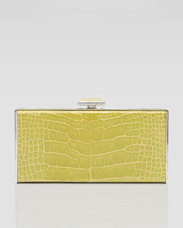 Judith Leiber East-West Rectangle Clutch Bag, Chartreuse