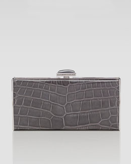 Judith Leiber East-West Rectangle Clutch Bag, Gray
