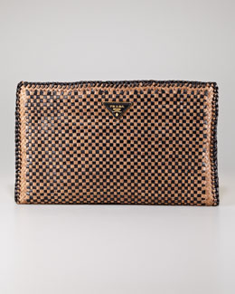 Prada Madras Leather Clutch Bag