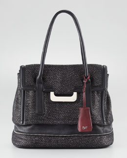 Diane von Furstenberg New Harper Laurel Tweed Tote Bag