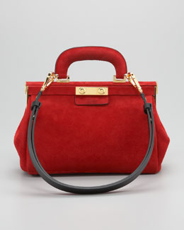 Marni Suede Top-Handle Satchel Bag