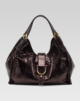 Gucci Soft Stirrup Python Shoulder Bag, Medium